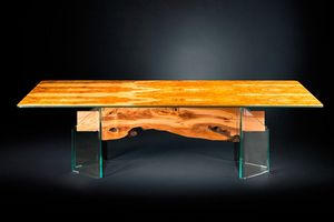 Portofino, Glass and olive wood table