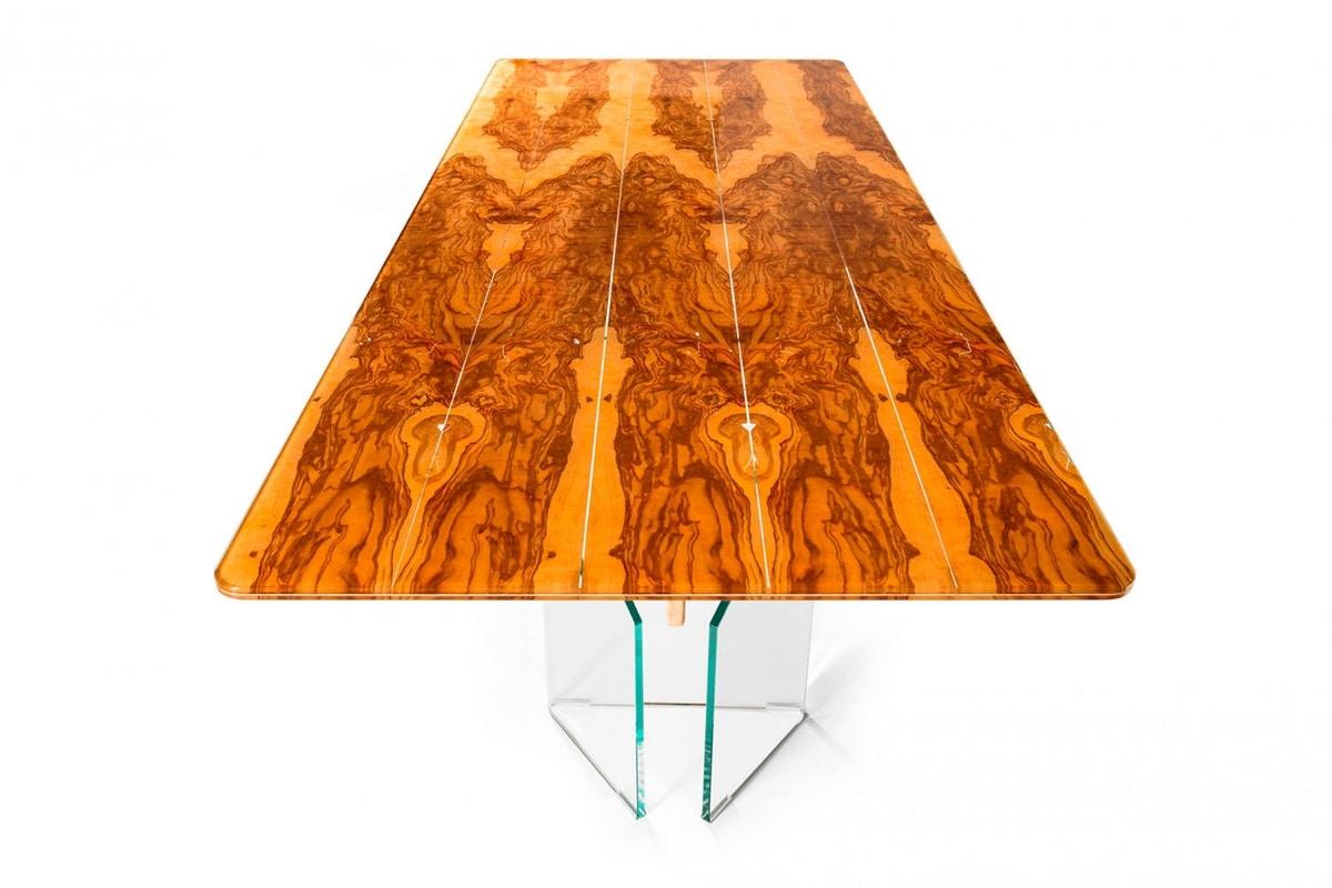 Portofino, Glass and olive wood table