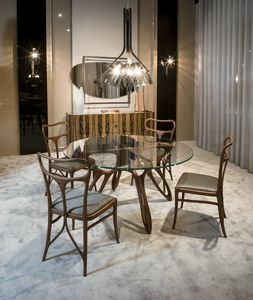 PROMETEO table GEA Collection, Contemporary dining table, with glass top