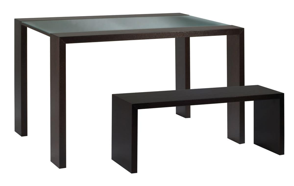 TA10, Table with glass top and wooden bench
