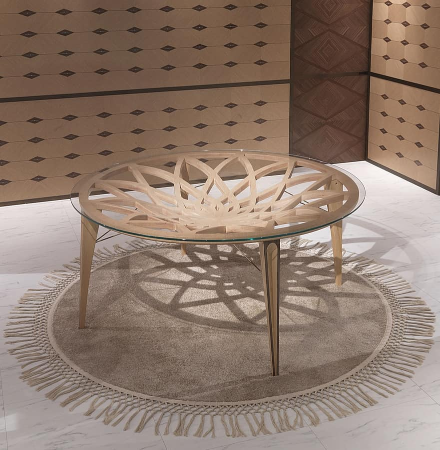 TA63 Galileo table, Round table in wood and glass, for modern lounges