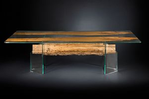 Venezia, Glass table with briccola wood inserts