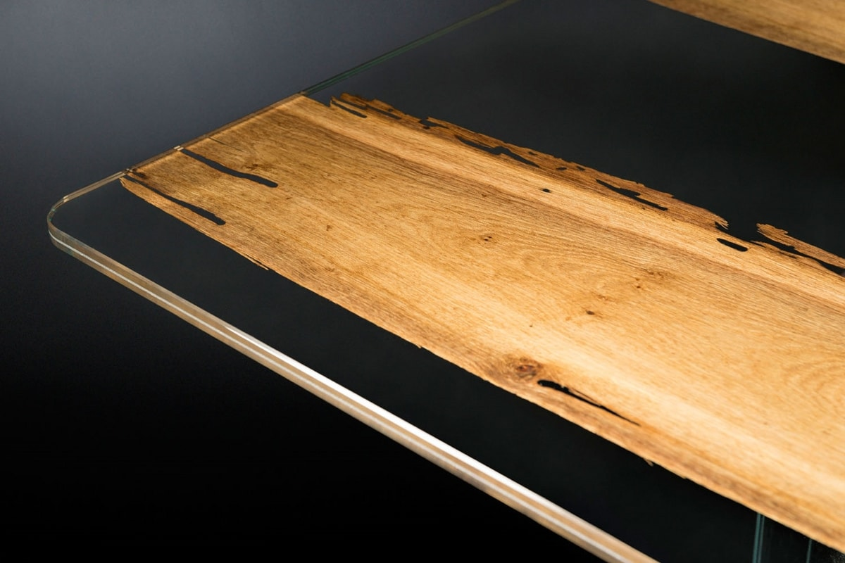 Venezia, Glass table with briccola wood inserts