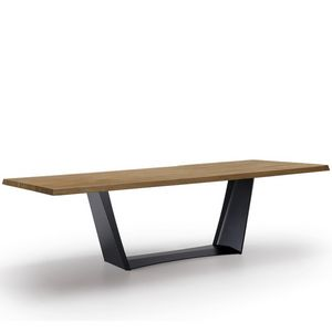 Antiqua-U, Table with solid wood top, fixed or extendable
