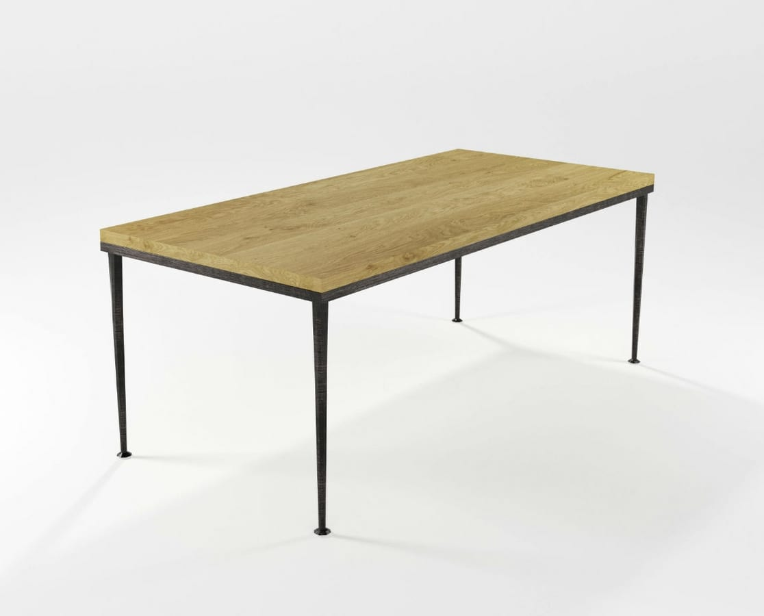 Arge, Rectangular metal table with glass