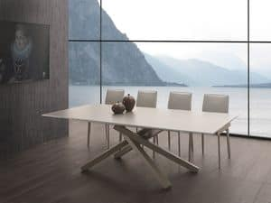 Art. 657 Infinity, Extendable table with glass top, steel base
