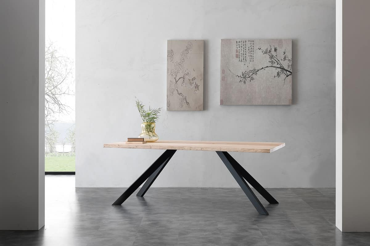Art. 704ME Bio-Metal, Table with solid ash wood top