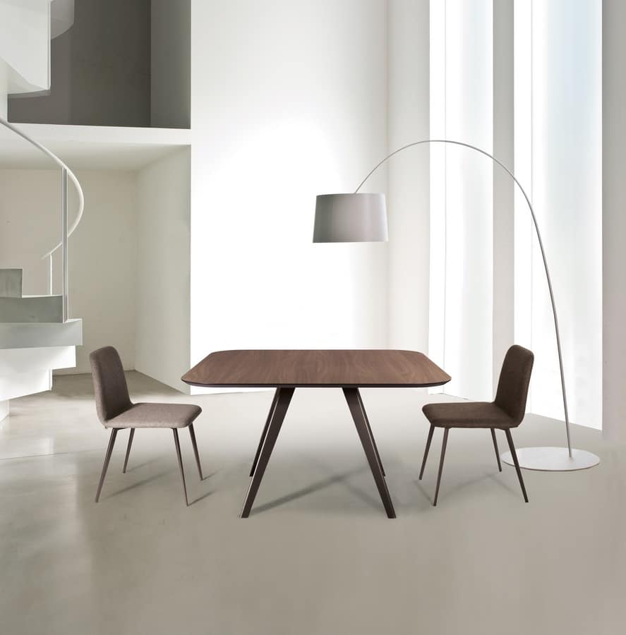 ART. 0094-0095-Met AKY, Metal design table with laminate top, for contract use