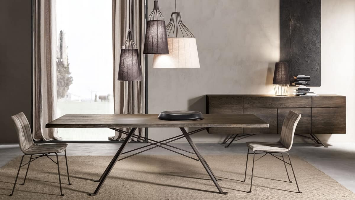 Artù table, Table with solid oak top, iron base