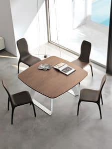 BRENTA, Extendable table in metal with wooden top for living area
