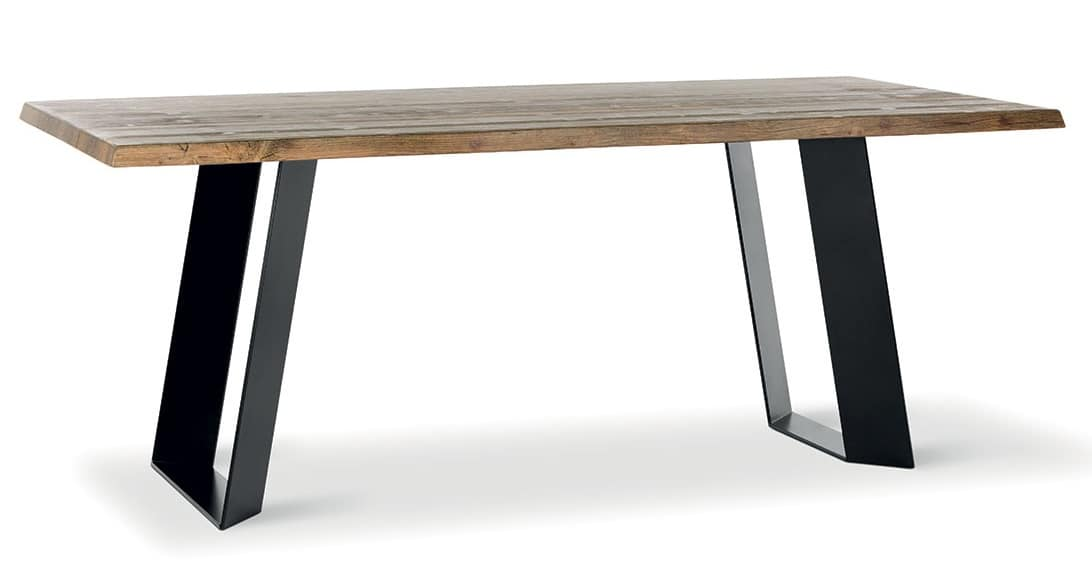 Fixed Table In Metal And Aged Hardwood Idfdesign