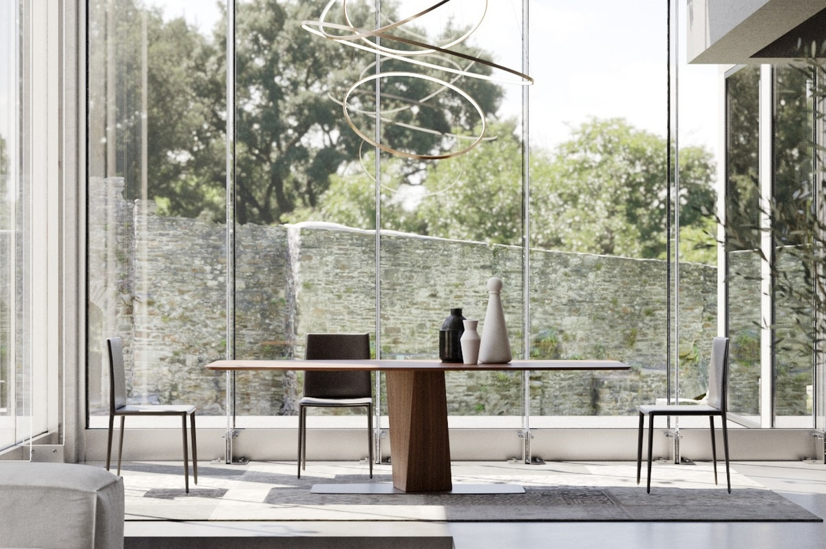 CLARK, Dining table in solid wood and metal