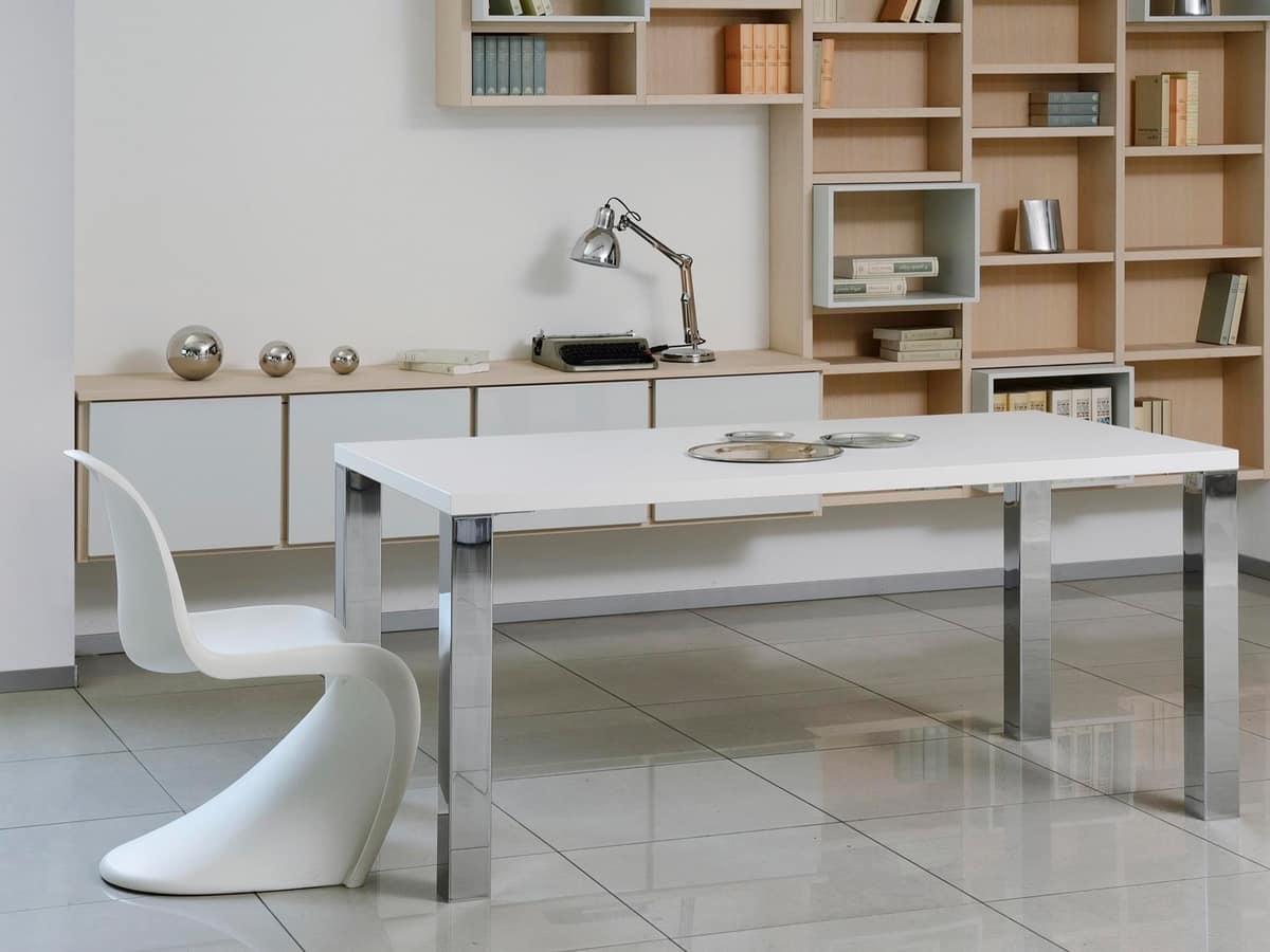 Complementi Tavoli e Consolle 15, Simple table in wood and metal, for modern living