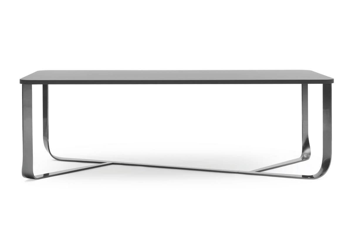 Confluence rectangular, Minimal table with steel structure, rectangular top