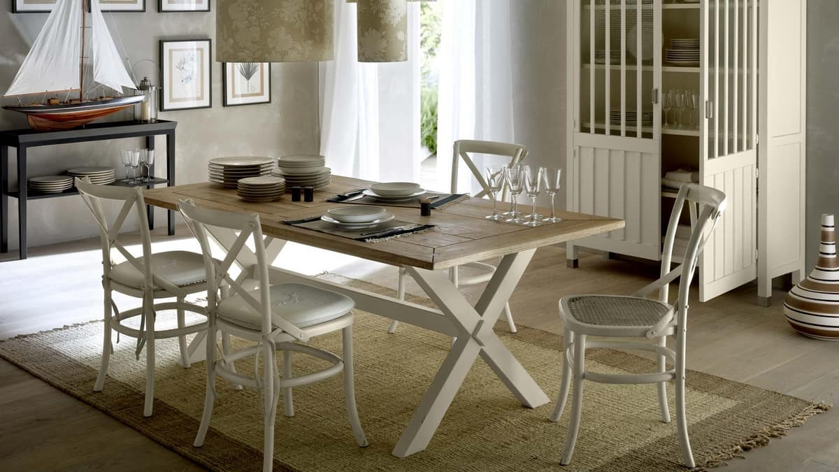 Cosimo table, Wooden table lacquered with brush, for dining room