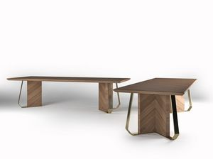 Intrigue table, Wood veneered table with metal finishes