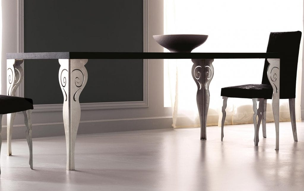 Kaleido Art. 208-RR, Dining table with laser-cut iron leg, polished and decorated by hand
