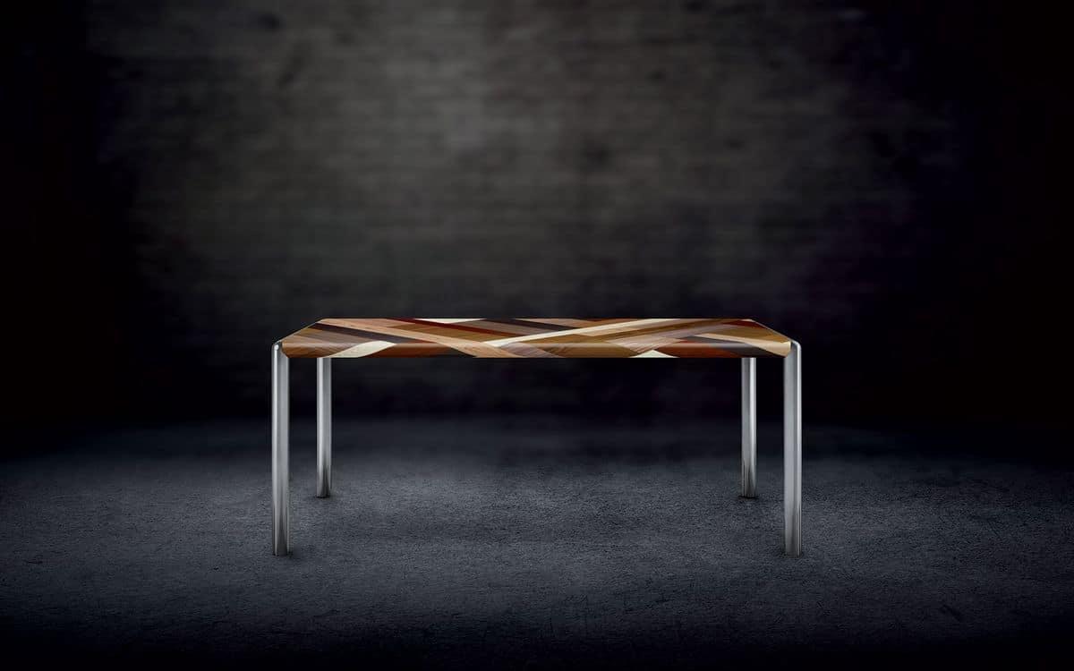 OLIMPO 1.8 PW45, Rectangular table, metal frame, wooden top