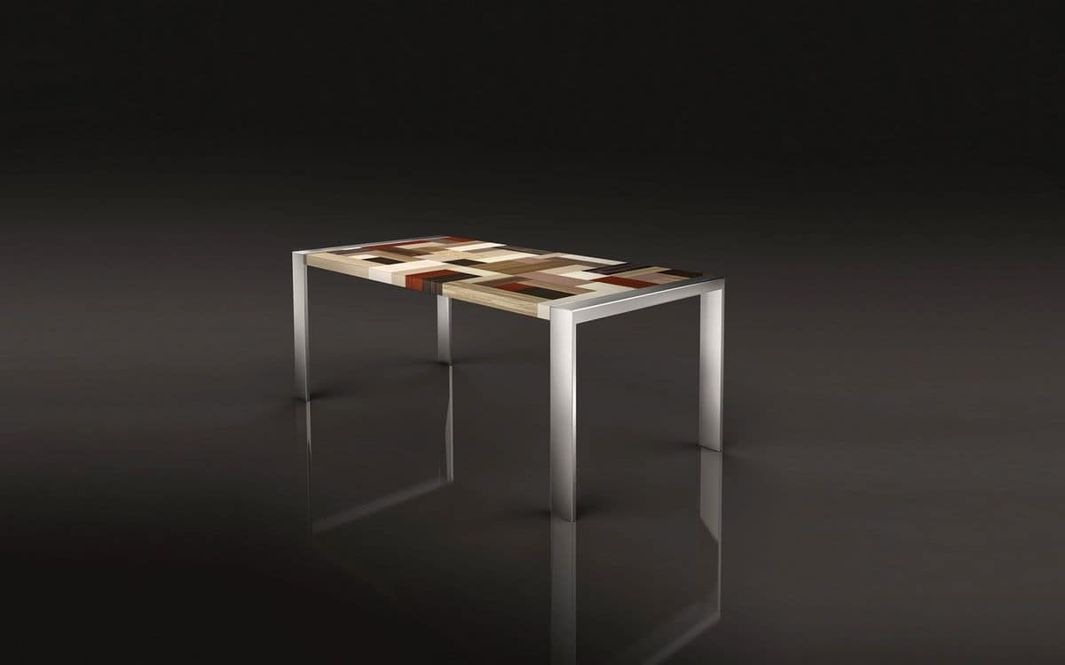 PEGASO 1.8 BC 90, Table in polished steel, rectangular plank wooden cross