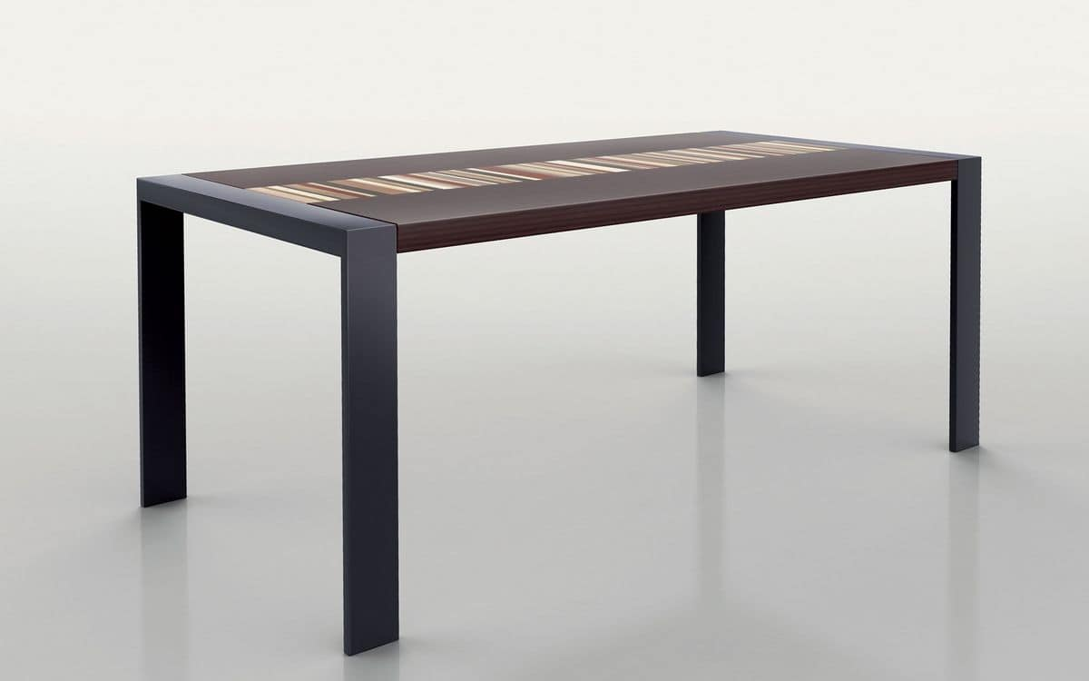 PEGASO 1.8 BC WENGE', Rectangular table, metal frame, wooden top