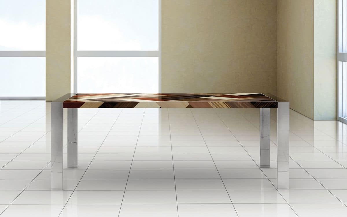 PEGASO 2.0 PW45, Rectangular table, polished steel frame, wooden top