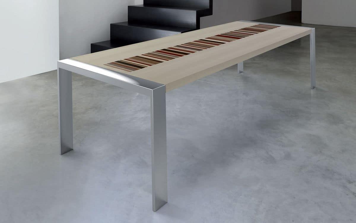 PEGASO 2.5 BC–ACERO FRISEE, Rectangular table, brushed steel frame, maple Frisee top