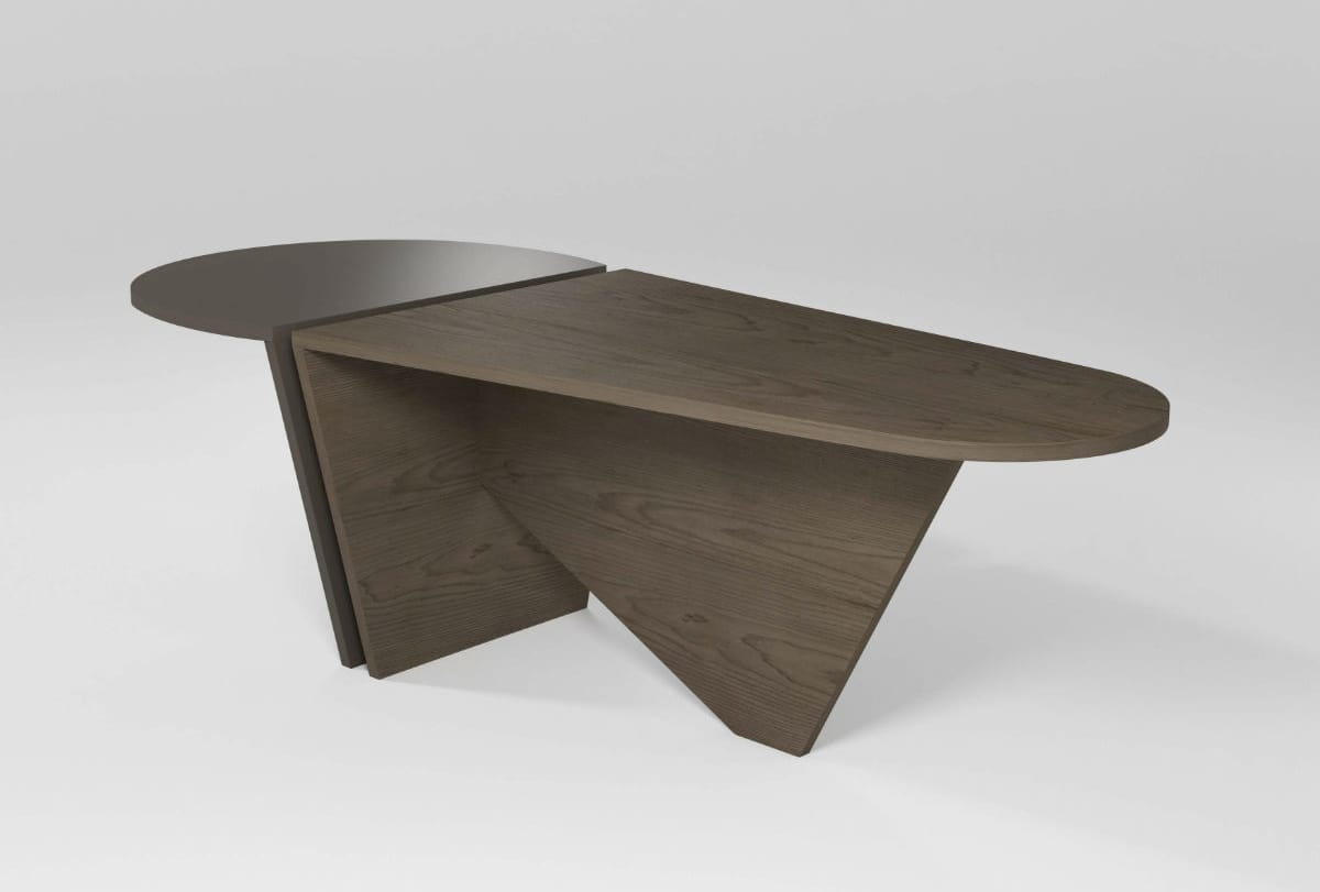 Simone, Oval table veneered walnut Canaletto, in stile moderno