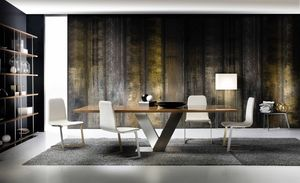 Tot�, Dining table with steel base and wooden top