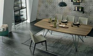 Wire, Metal table with wooden top