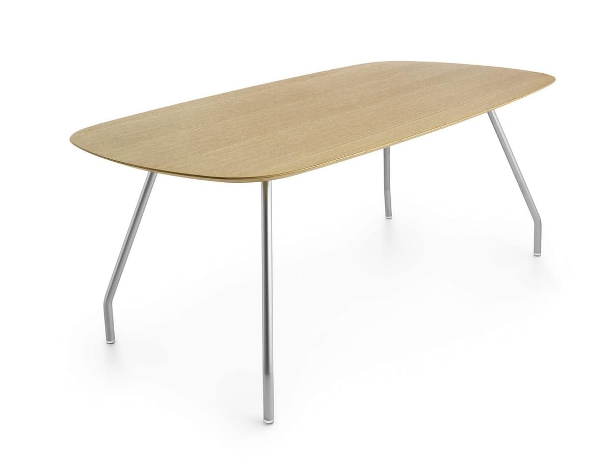 Worktop Mono 185, Oval wooden table with steel legs