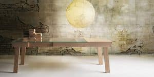 Banc, Table with extension, ash structure, glass top