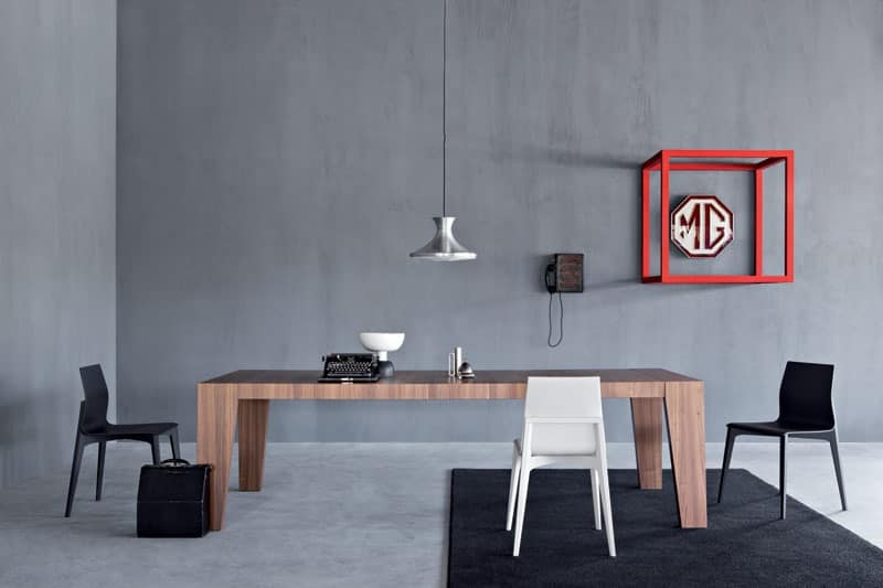 Cartagena, Wooden table with horizontal slats, modern style