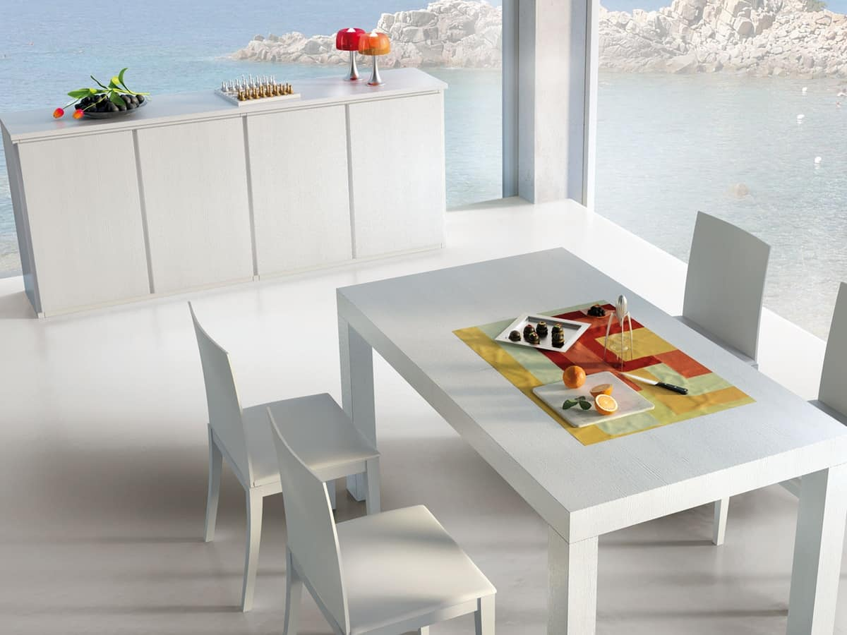 Complements Table 01, Extendable wooden table, for modern living