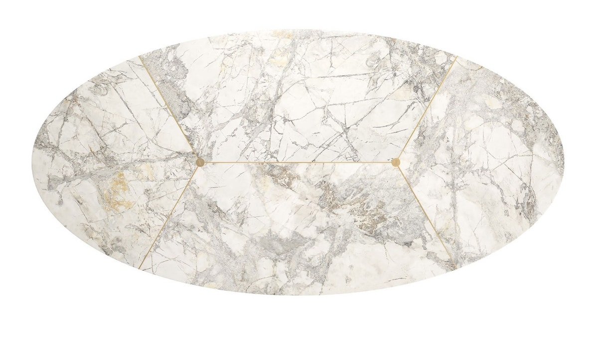 Gregory table, Table with oval marble top