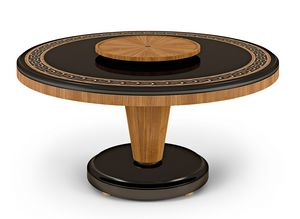 LEXINGTON AVENUE Tavolo, Round table with inlays in wood