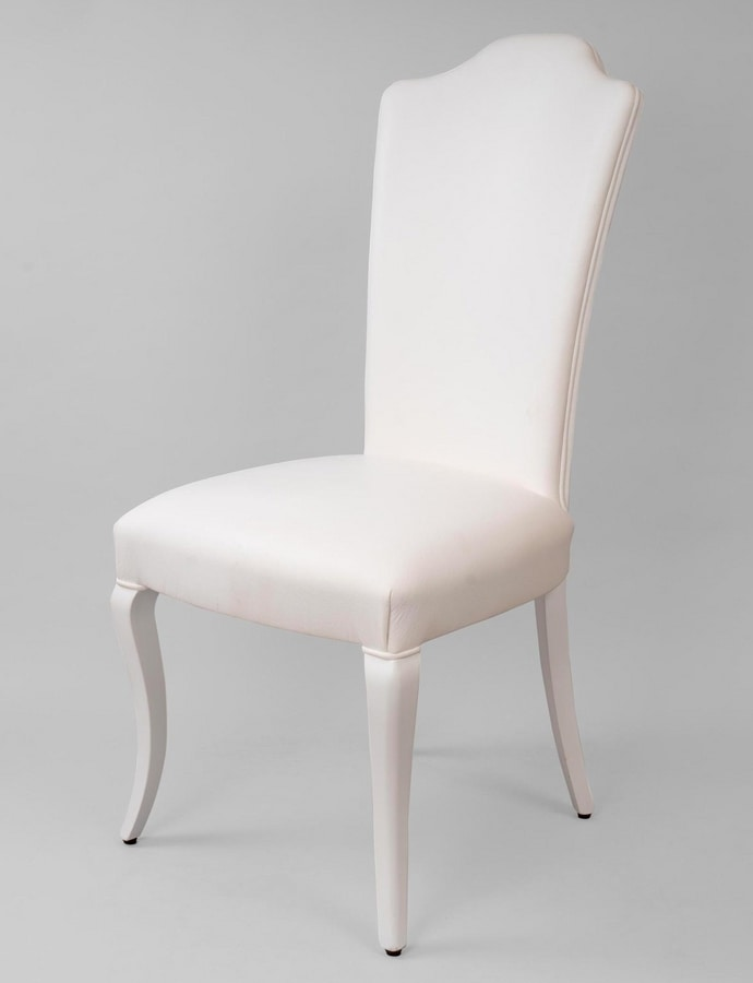 BS419S - Chair, Upholstered chair in white lacquered wood