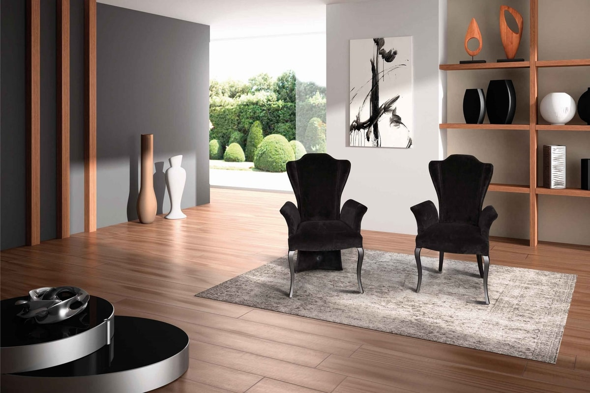 BS431A - Chair, Velvet chair with high back