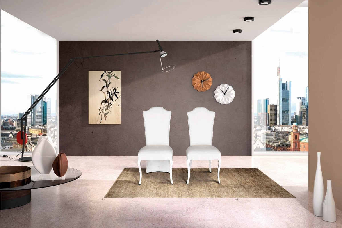 BS432S - Chair, Upholstered chair with high back
