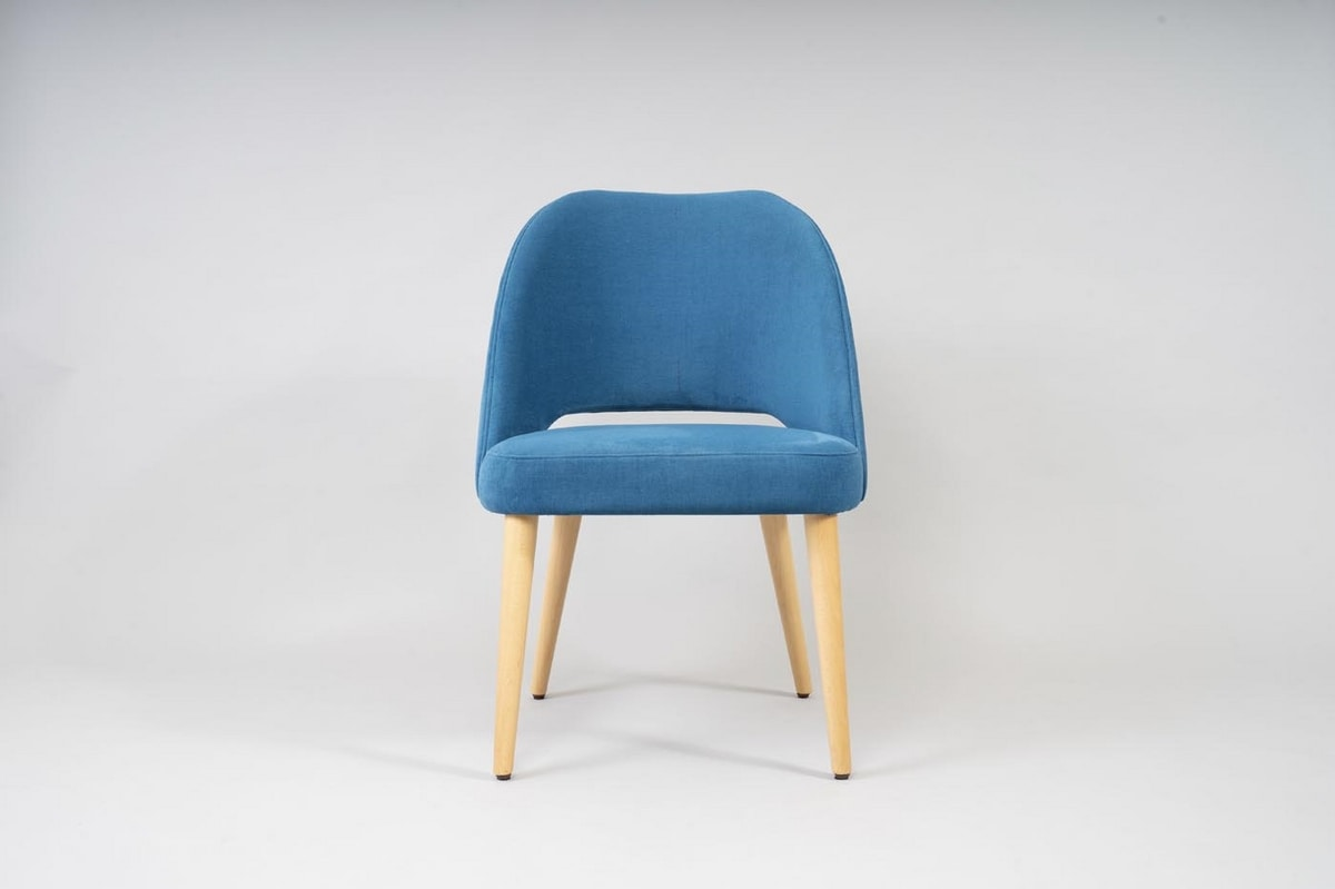 BS491A - Chair, Upholstered chair with beech legs