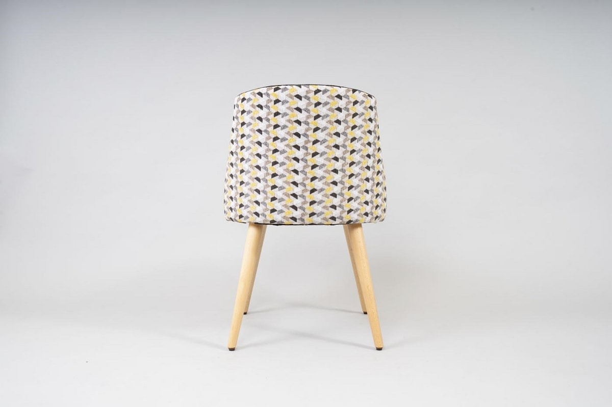 BS527S - Chair, Upholstered chair with beech legs