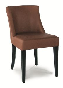 DALLAS S, Upholstered chair with varnished wooden structure
