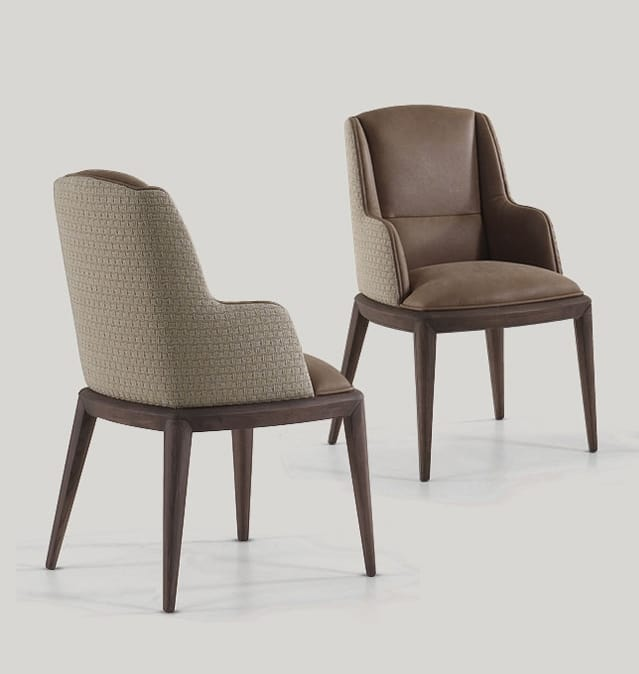 Darrel chair, Dining chair with armrests, covered in leather