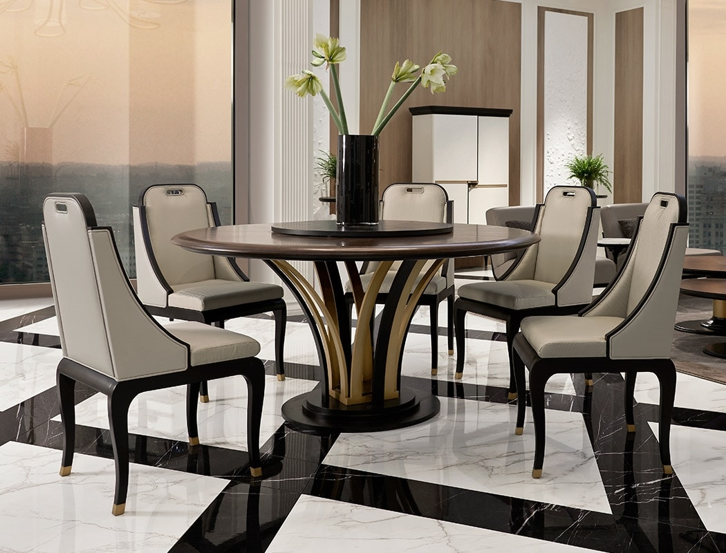Dilan Art. D13, Dining chair in leather and fabric