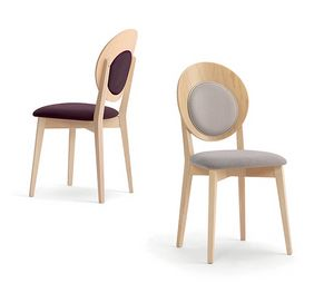 Eggy 10029, Wooden chair with padded round backrest