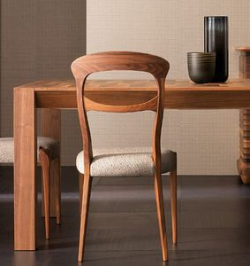 Elettra Art. EL143, Walnut wood chair with padded seat