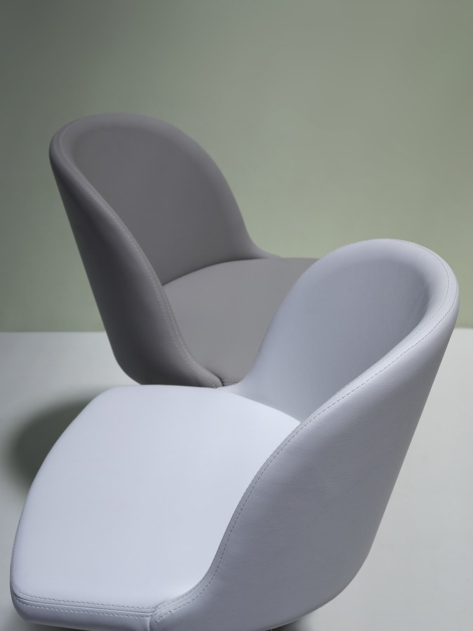 Emma, Wooden chair with upholstered shell