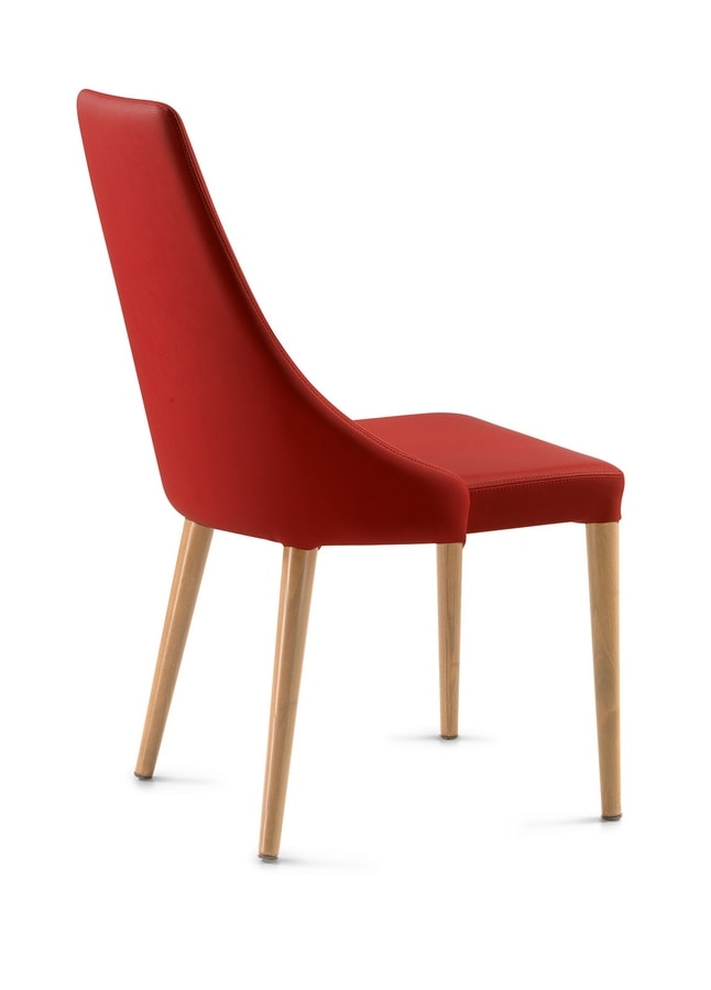 Evelin wooden legs, Chair with enveloping backrest