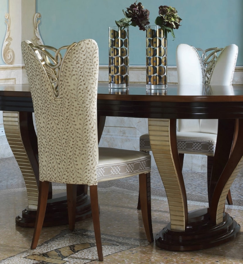 Grand Etoile Art. GE042/AR, Dining chair with elegant carved decoration