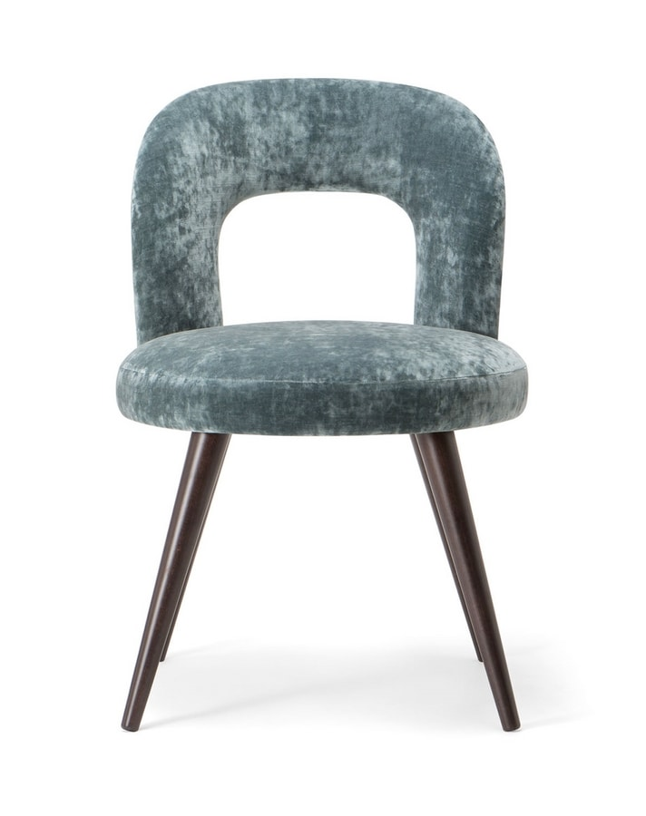 HOLLY SIDE CHAIR 065 S, Chair with solid wood legs and upholstered seat