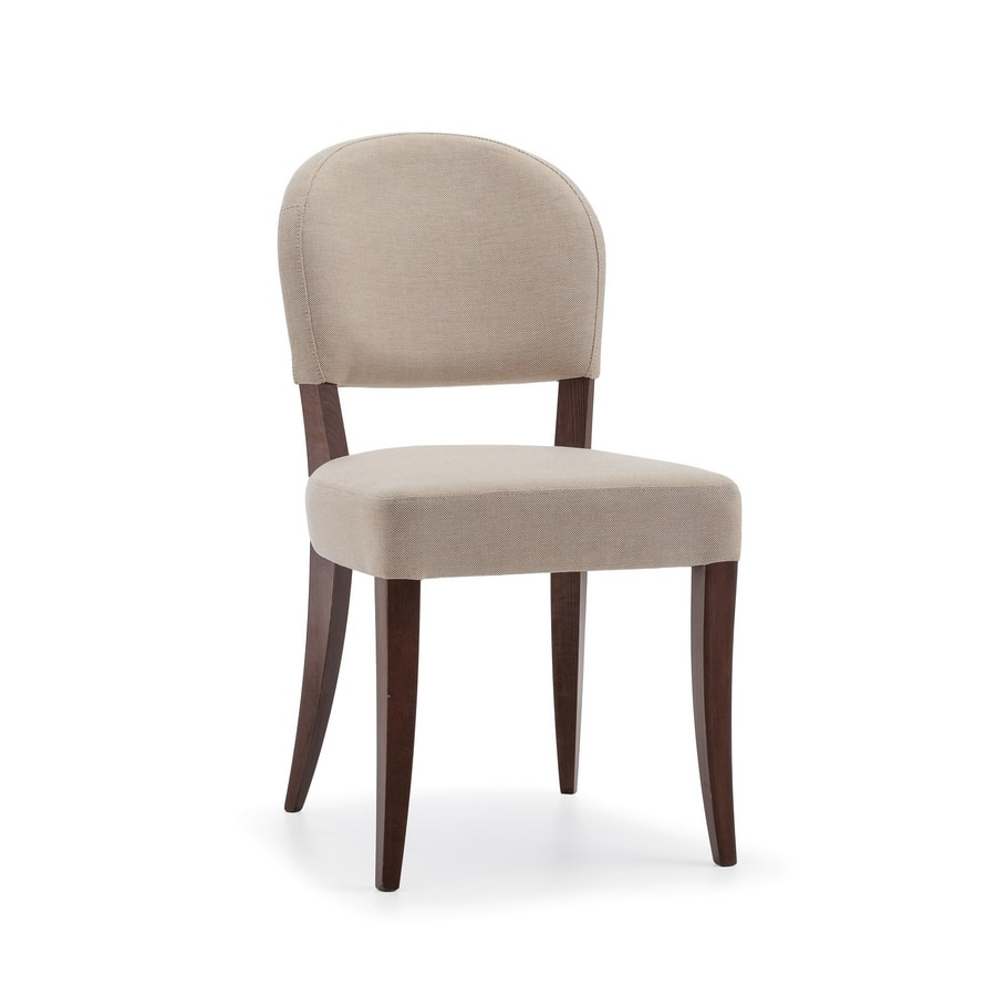 ISLANDA S1, Padded chair with wooden legs